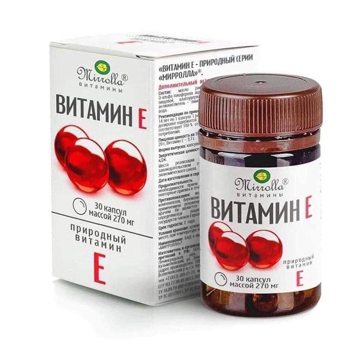 Tpbvsk Mirrolla Vitamin E 270mg của Nga, Chai 30 viên