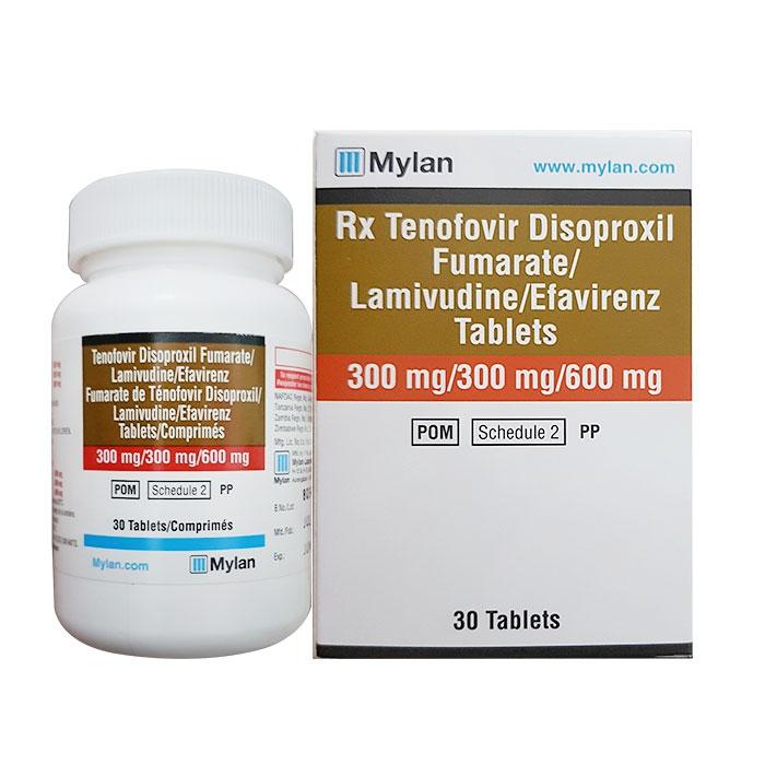 Thuốc trị HIV Mylan TLE 300mg/300mg/600mg, Hộp 30 viên ( VN2-373-15 )
