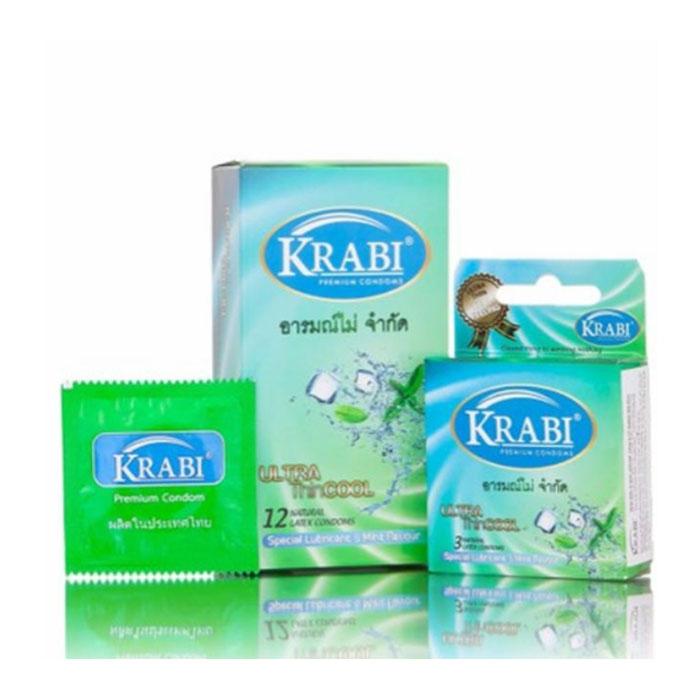 Bao cao su siêu mỏng hương bac hà Krabi Ultrathin Cool