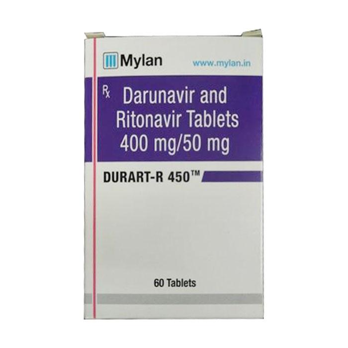 Thuốc kháng Virus Mylan Durart R 450 ( Darunavir 400mg, Ritonavir 50mg), Hộp 60 viên