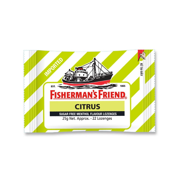 Kẹo ngậm con tàu Fishermans Friend Citrus, 25g/gói