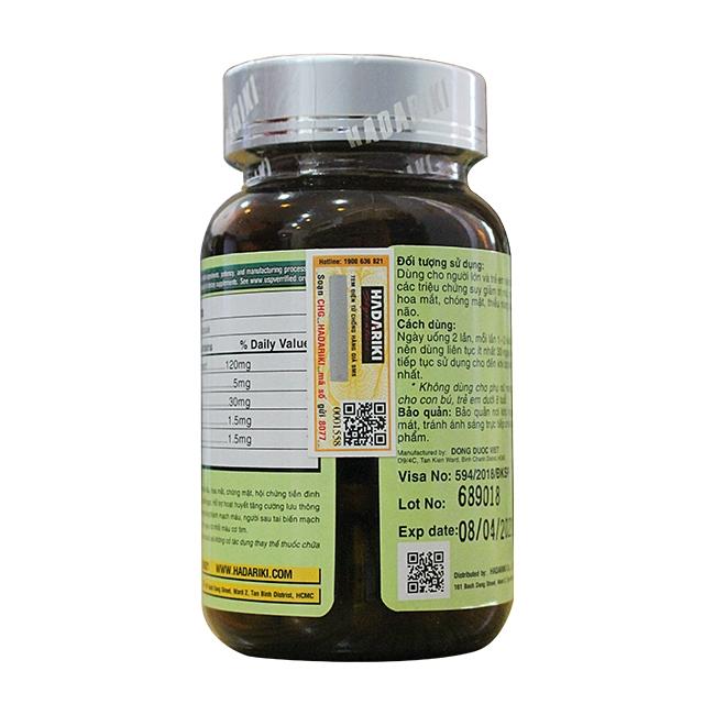 Tpbvsk bổ não Hadariki Ginkgo Biloba 120mg With Coenzyme Q10