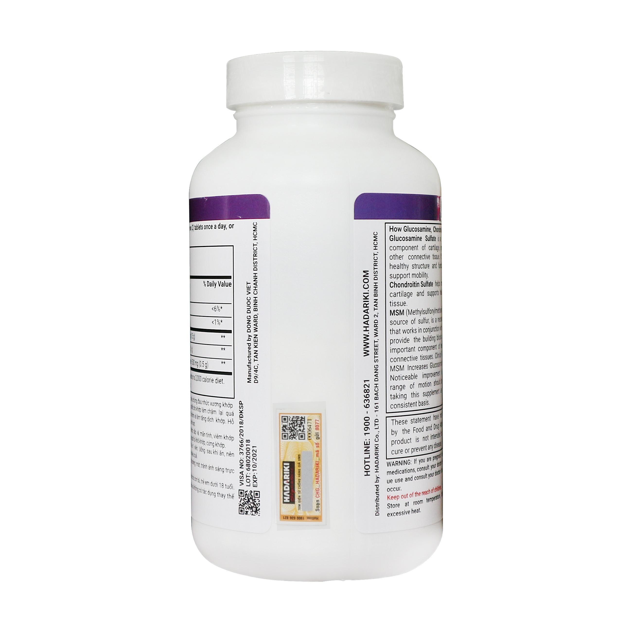 Hadariki Glucosamine 1500mg, Chondroitin 1000mg, MSM 500mg bổ khớp (New)