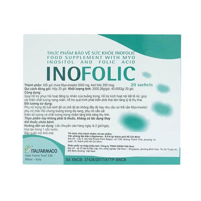 Bột hòa tan giúp tăng khả năng mang thai Italfarmaco Inofolic, Hộp 20 Gói