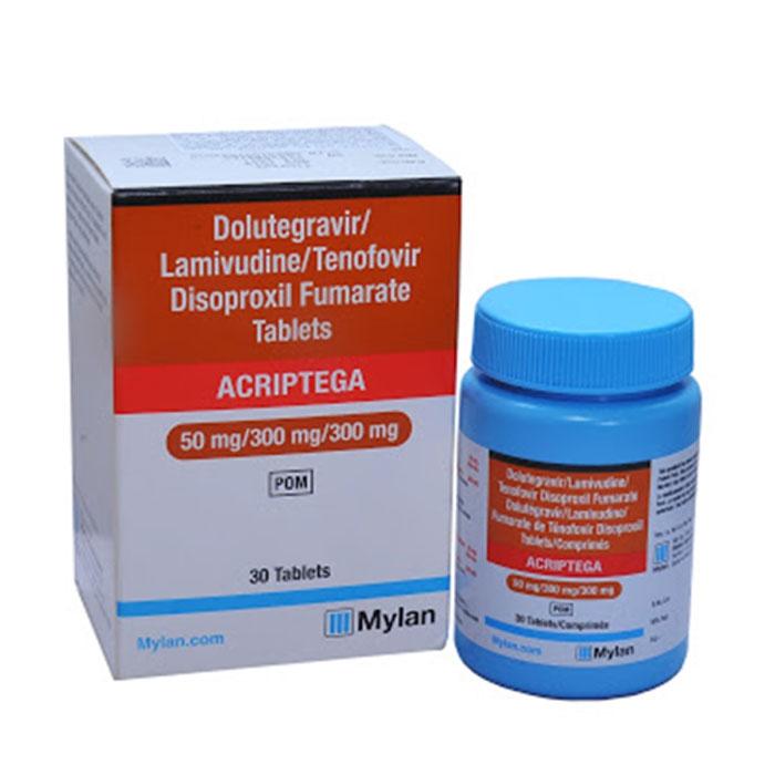 Thuốc kháng Virus HIV Mylan Acriptega 50mg/300mg/300mg, Hộp 30 viên