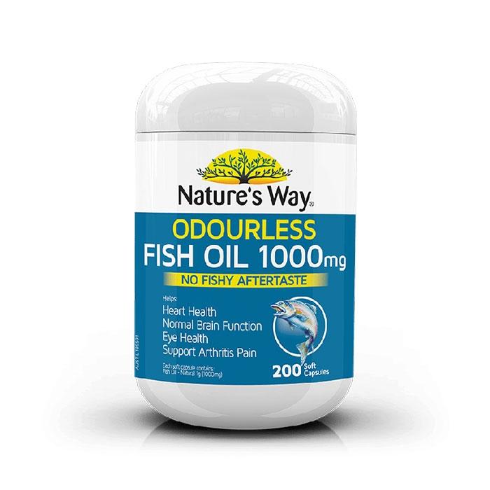 Nature's Way Odourless Fish Oil 1000mg bổ sung dầu cá, Hộp 200 viên
