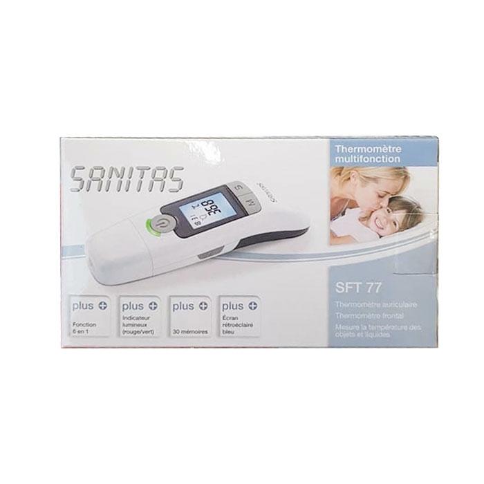 Nhiệt kế điện tử Sanitas SFT 77 của Đức 6 in 1 đo tai, trán, nước
