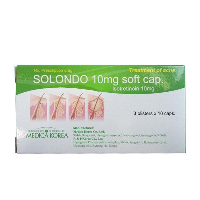 Thuốc trị mụn trứng cá VNP Solondo 10mg, Hộp 30 viên