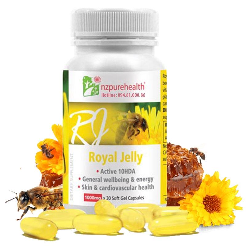 Viên uống sữa ong chúa Royal Jelly Nzpurehealth New Zealand