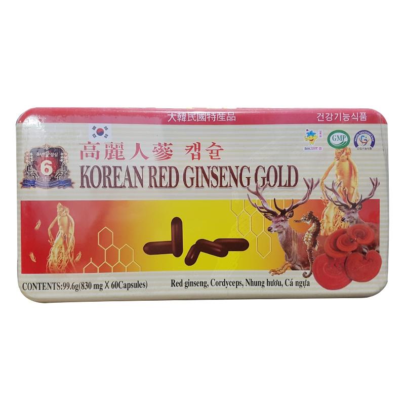 Thực phẩm tăng cường sức khỏe Korean Red Ginseng Gold 830mg, Hộp 60 viên
