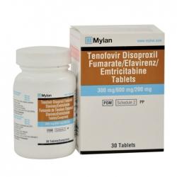 Thuốc Mylan Tenofovir Disoproxil Fumarate Efavirenz Emtricitabine Tablets (TEE) 300mg/600mg/200mg, Hộp 30 viên