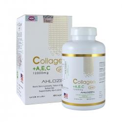 Ahlozen Collagen +A,E,C Gold 12000mg đẹp da, chống lão hóa, Chai 180 viên