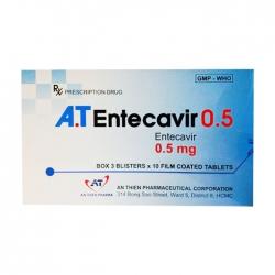 A.T Entecavir 0.5mg, Hộp 3 vỉ x 10 viên