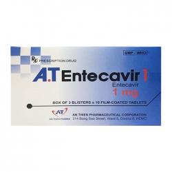 A.T Entecavir 1mg, Hộp 3 vỉ x 10 viên