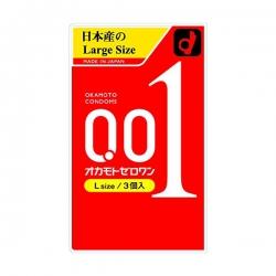 Bao cao su mỏng 0.01mm Okamoto Condoms Zero One L size (Hộp 3 cái)