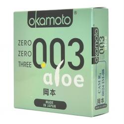 Bao Cao Su Okamoto 0.03 Aloe, Hộp 3 Cái