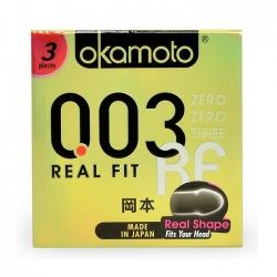 Bao cao su Okamoto 0.03 Real Fit, Hộp 3 Cái