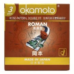 Bao Cao Su Okamoto Roman Gân Nổi Hình Hoa Hồng, Hộp 3 Cái