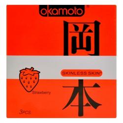 Bao Cao Su Okamoto Skinless Skin Strawberry, Hộp 3 Cái