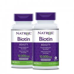 ( Combo 02 Chai ) Tpbvsk chăm sóc tóc Natrol Biotin 10,000mcg Maximum Strength, 100 viên/ Chai