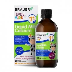 Canxi dạng sữa và Vitamin D cho bé Brauer Baby and Kids Liquid Milk Calcium 200ml