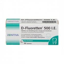 D-Fluoretten 500 I.E Zentiva 6 vỉ x 15 viên - Vitamin D cho trẻ sơ sinh và trẻ nhỏ