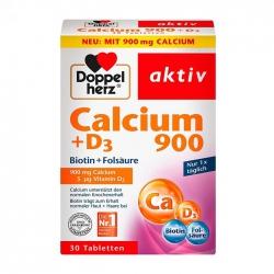 Doppelherz Calcium + D3 900mg 3 vỉ x 10 viên - Viên uống chắc xương, làm đẹp