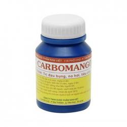 Giúp trị đau bụng, đầy hơi, khó tiêu, tiêu chảy Carbomango, Chai 100 viên