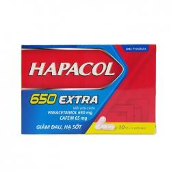 Thuốc DHG Hapacol 650 Extra giúp giảm đau, hạ sốt, Hộp 100 viên