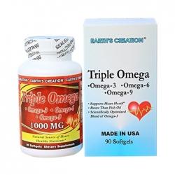 Hỗ trợ tim mạch Earth's Creation Triple Omega 3,6,9 1000mg, Chai 90 viên