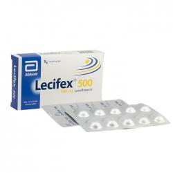 Thuốc kháng sinh Abbott Lecifex 500mg, Hộp 10 viên