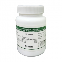 Thuốc Macleods Lamivudine 150mg Zidovudine 300mg Nevirapine 200mg Tablets, Chai 60 viên