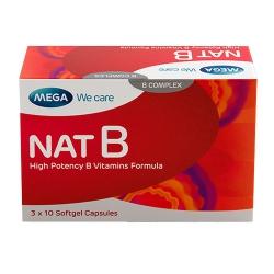 Mega Nat B giúp bổ sung Vitamin và khoáng chất, Hộp 3 vỉ x 10 viên