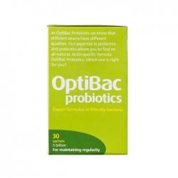 Men vi sinh hỗ trợ táo bón Optibac Probiotics màu xanh lá, Hộp 30 gói