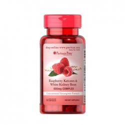 Tpbvsk Puritan's Pride Raspberry Ketones and White Kidney Bean 600mg Complex, Chai 60 viên