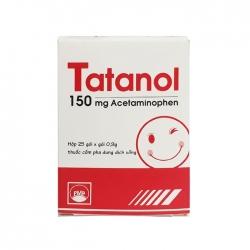 Thuốc giảm đau, hạ sốt Pymepharco Tatanol Acetaminophen 150mg, Hộp 25 gói