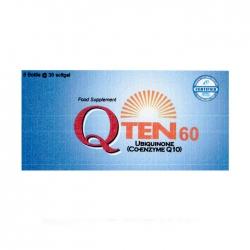 Viên uống bổ sung Coenzyme Q10 Q-Ten 60, 30 viên