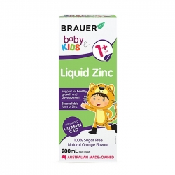 Siro bổ sung kẽm cho trẻ trên 1 tuổi Brauer Baby & Kids Liquid Zinc 200ml