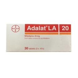 Thuốc tim mạch Adalat LA 20mg Nifedipin 20mg, Hộp 30 viên