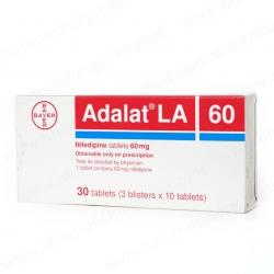 Thuốc tim mạch Adalat 60mg LA, Hộp 30 viên