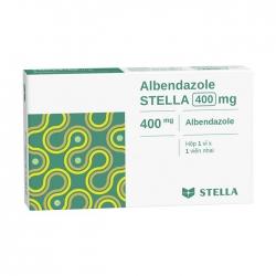 Thuốc điều trị giun, sán Albendazole Stella 400mg, Hộp 1 viên