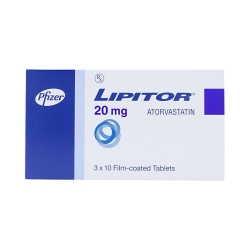 Thuốc hạ mỡ máu Lipitor 20 - Atorvastatin 20mg, Hộp 3 vỉ x 10 viên
