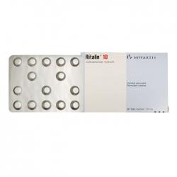 Thuốc hướng thần Ritalin 10mg, Hộp 30 viên