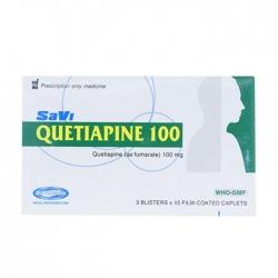 Thuốc hướng thần Savi Quetiapine 100mg, Hộp 30 viên