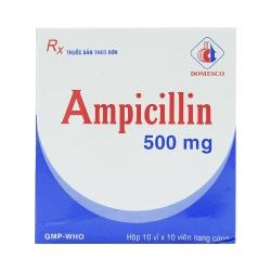 Thuốc kháng sinh Ampicillin 500mg Domesco, Hộp 100 viên