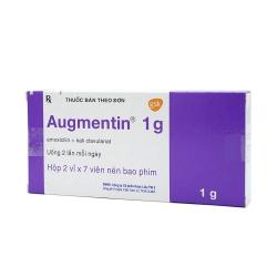 Thuốc kháng sinh Augmentin 1g - Amoxicillin 875 mg, Hộp 2 vỉ x 7 viên