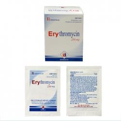 Thuốc kháng sinh DMC Erythromycin 250mg, Hộp 24 gói