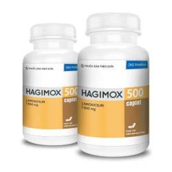 Thuốc kháng sinh Hagimox 500 - Amoxicilin 500mg, Chai 100 viên