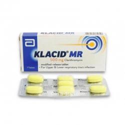 Thuốc kháng sinh Klacid MR 500mg, Clarithromycin 500mg, Hộp 1 vỉ x 5 viên