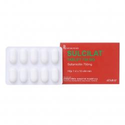 Thuốc kháng sinh Sulcilat 750mg, Hộp 1 vỉ x 10 viên